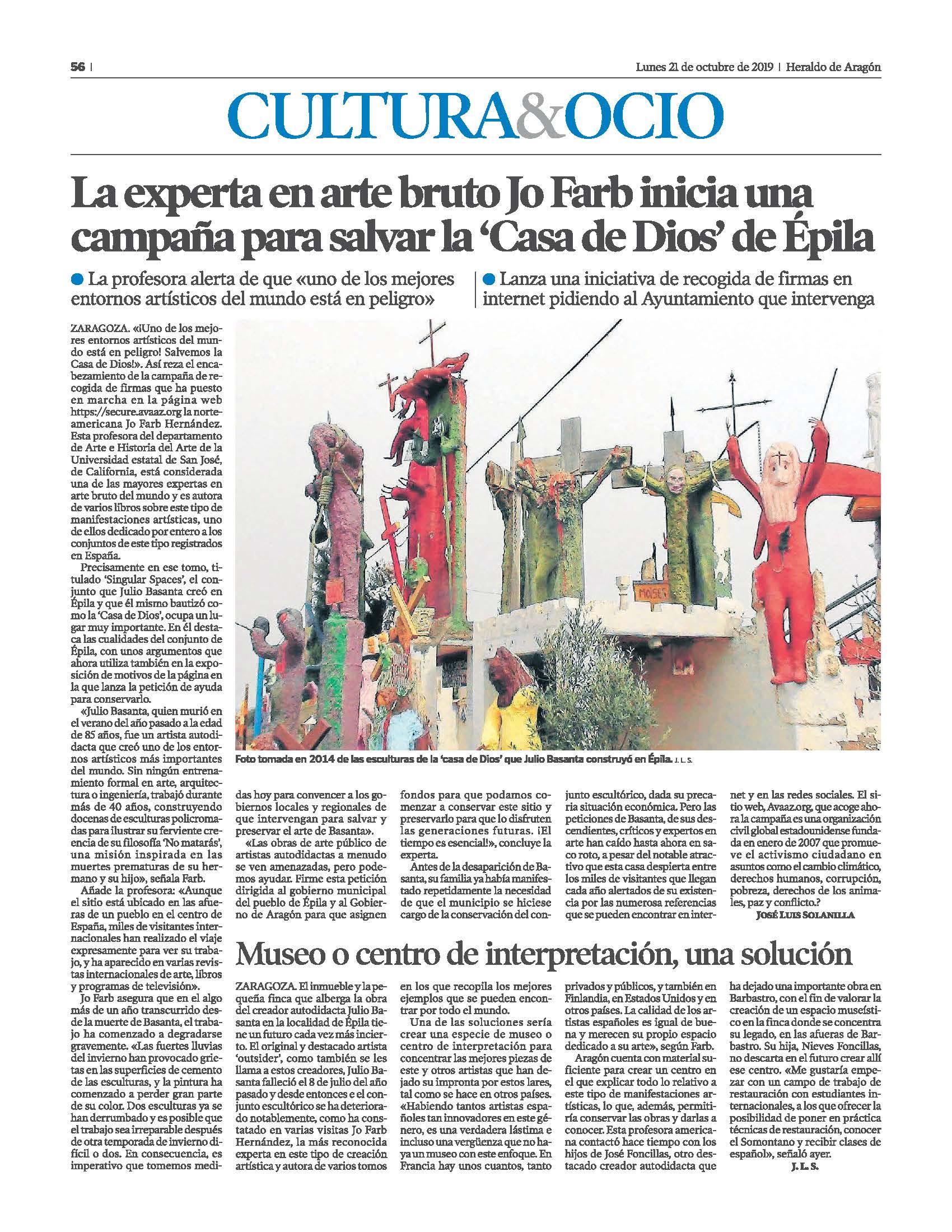 La experta en arte bruto Jo Farb inicia una campaña para salvar la 'Casa de Dios' de Épila Heraldo de Aragon 21 oct 2019